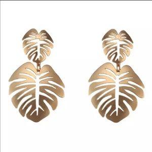 NEW Gold Monstera Leaf Drop Earrings